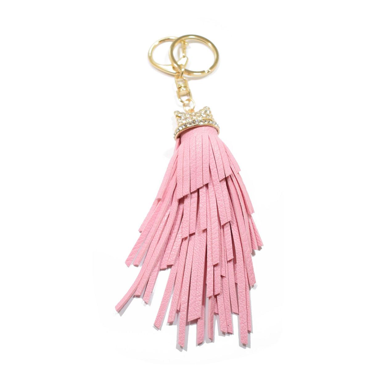 143004f25d Μπρελόκ φο μπιζού (faux bijoux) φούντα σε ροζ χρώμα με κρυστάλλους  (BZ-KC-00001)