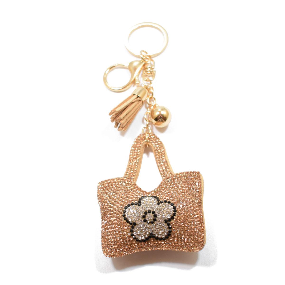 Μπρελόκ φο μπιζού (faux bijoux) τσάντα σε καφέ χρώμα με κρυστάλλους  (BZ-KC-00003) 13433dc0ec9