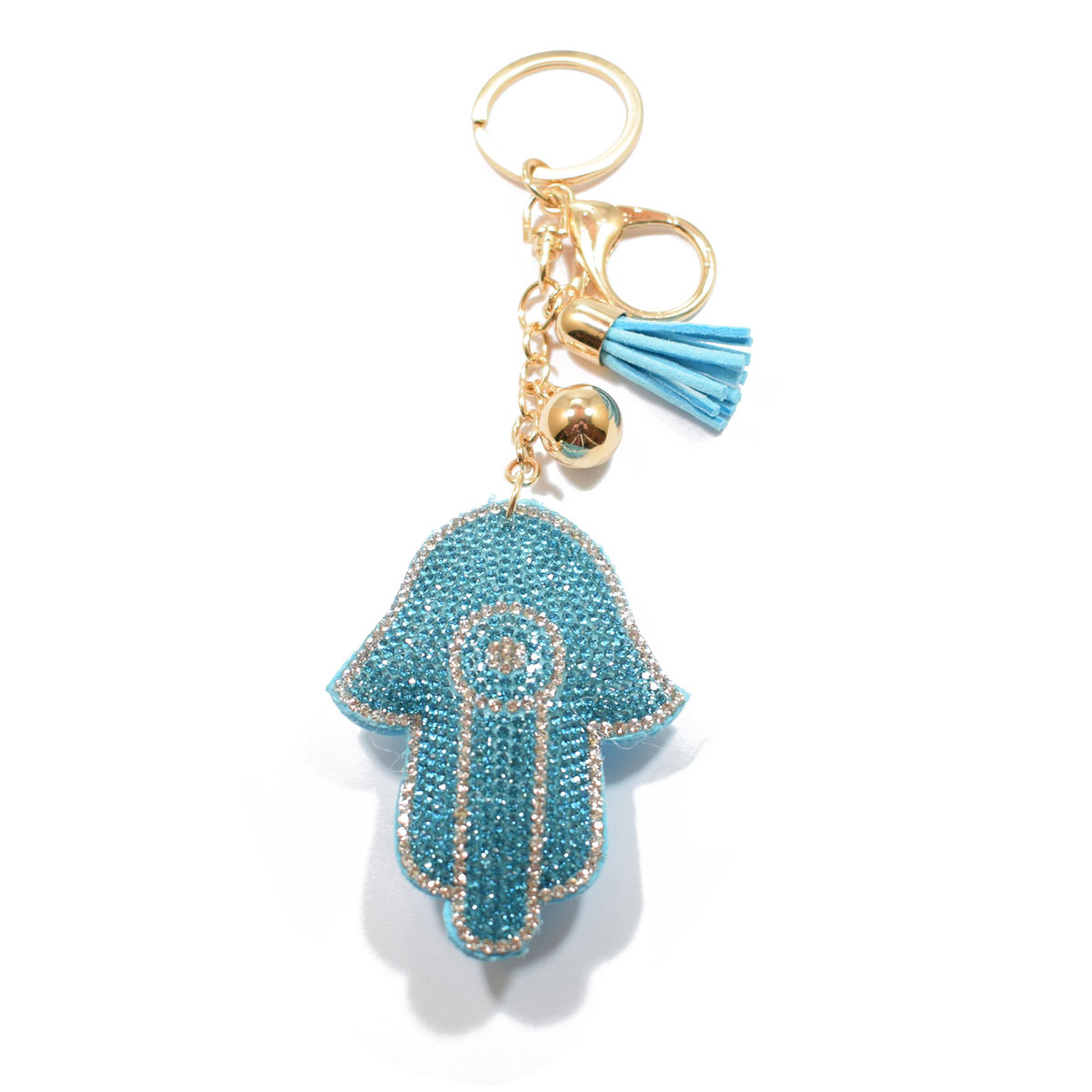 Μπρελόκ φο μπιζού (faux bijoux) Χάμσα - χέρι της Φατιμά σε τιρκουάζ χρώμα  με κρυστάλλους (BZ-KC-00011) bb58d9bad6a