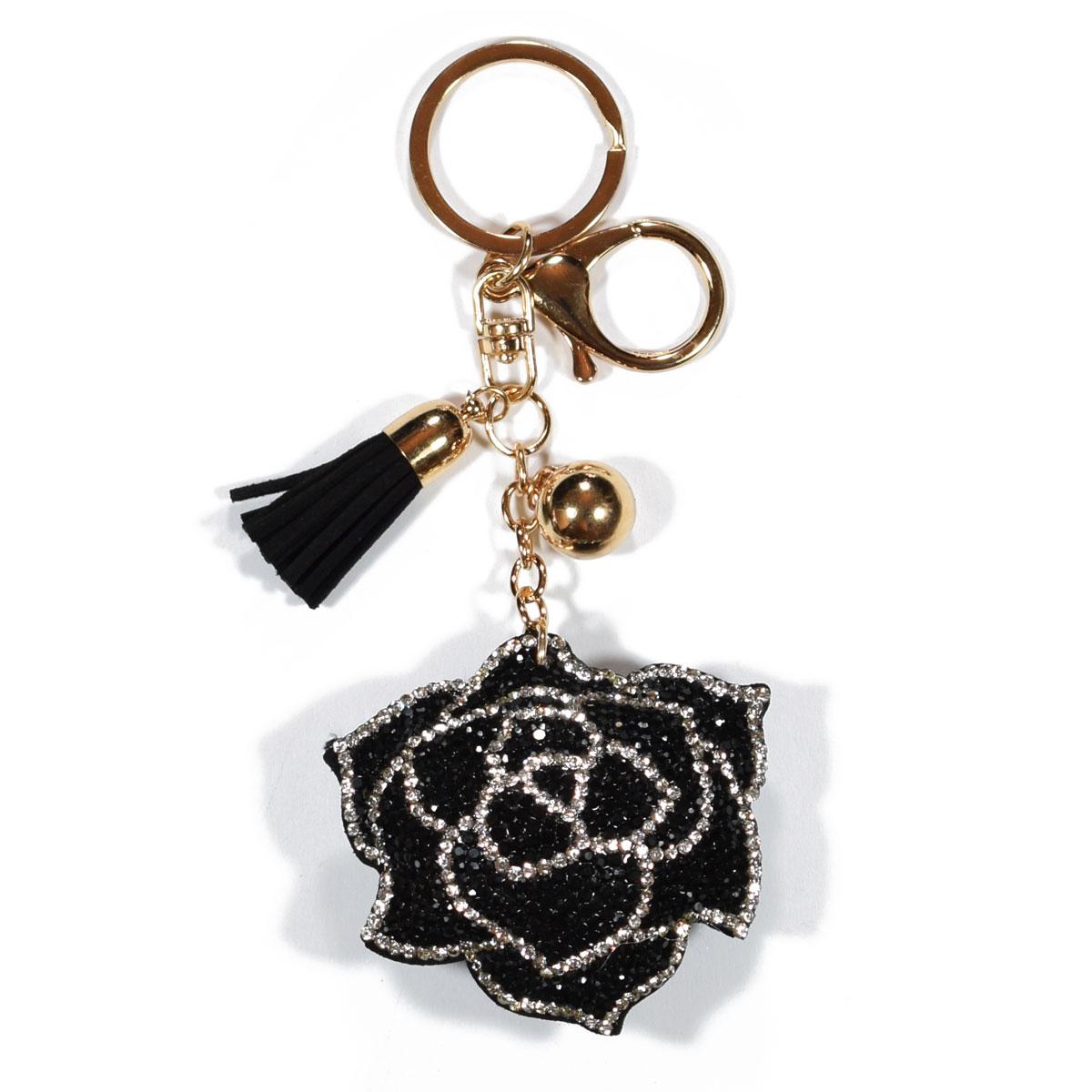Μπρελόκ φο μπιζού (faux bijoux) τριαντάφυλλο σε μαύρο χρώμα με κρυστάλλους  (BZ-KC-00022) 70a398d6762