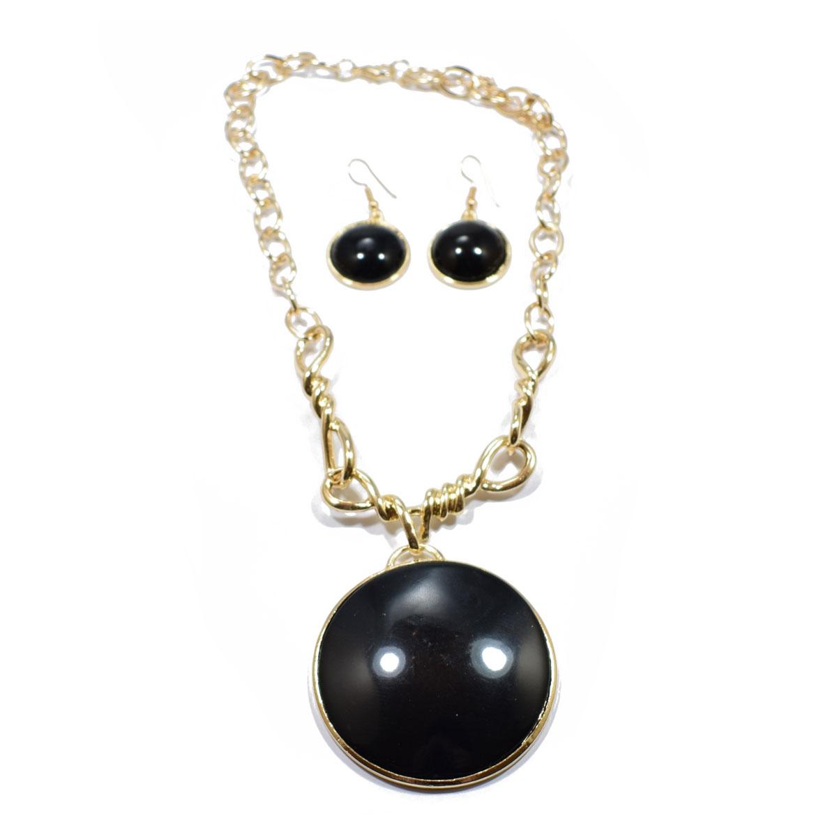 Κολιέ φο μπιζού (faux bijoux) με μαύρη πέτρα και σκουλαρίκια σετ  (BZ-NK-00005) ed3af2f6269