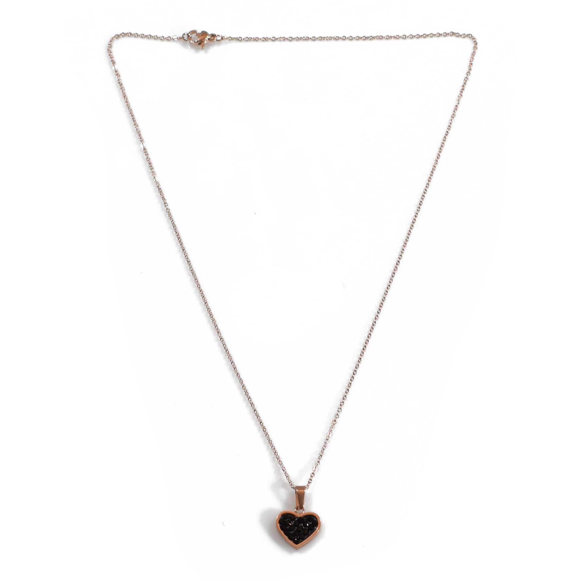 Κολιέ ατσάλινο (stainless steel) rose gold (καρδιά) με κρυστάλλους BZ-NK 0cbb36191f1