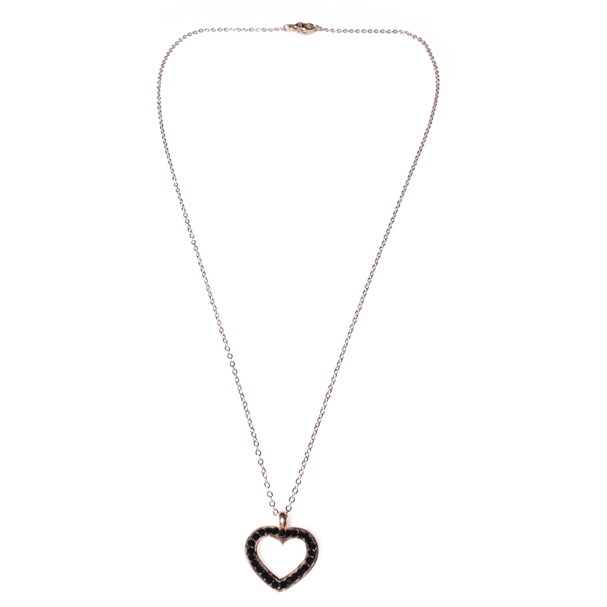 Κολιέ ατσάλινο (stainless steel) ροζ χρυσό (καρδιά) με κρυστάλλους BZ-NK 9afc0764f3d