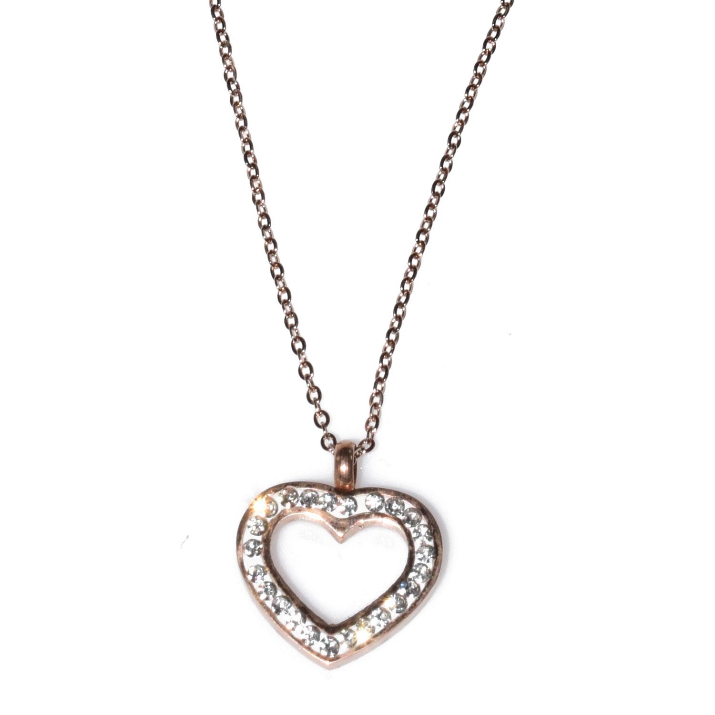 Κολιέ ατσάλινο (stainless steel) ροζ χρυσό (καρδιά) με κρυστάλλους  BZ-NK-00103 cb7b8b0abc6