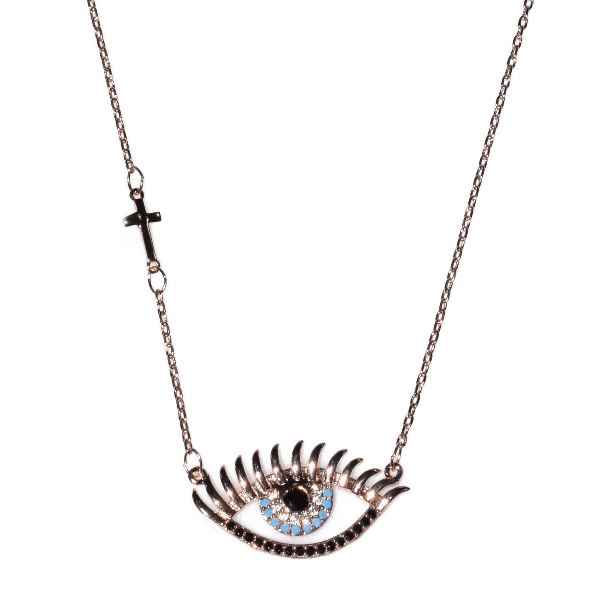 Κολιέ ατσάλινο (stainless steel) ροζ χρυσό (μάτι με σταυρό) με κρυστάλλους  BZ-NK-00108 fbb09d6188d