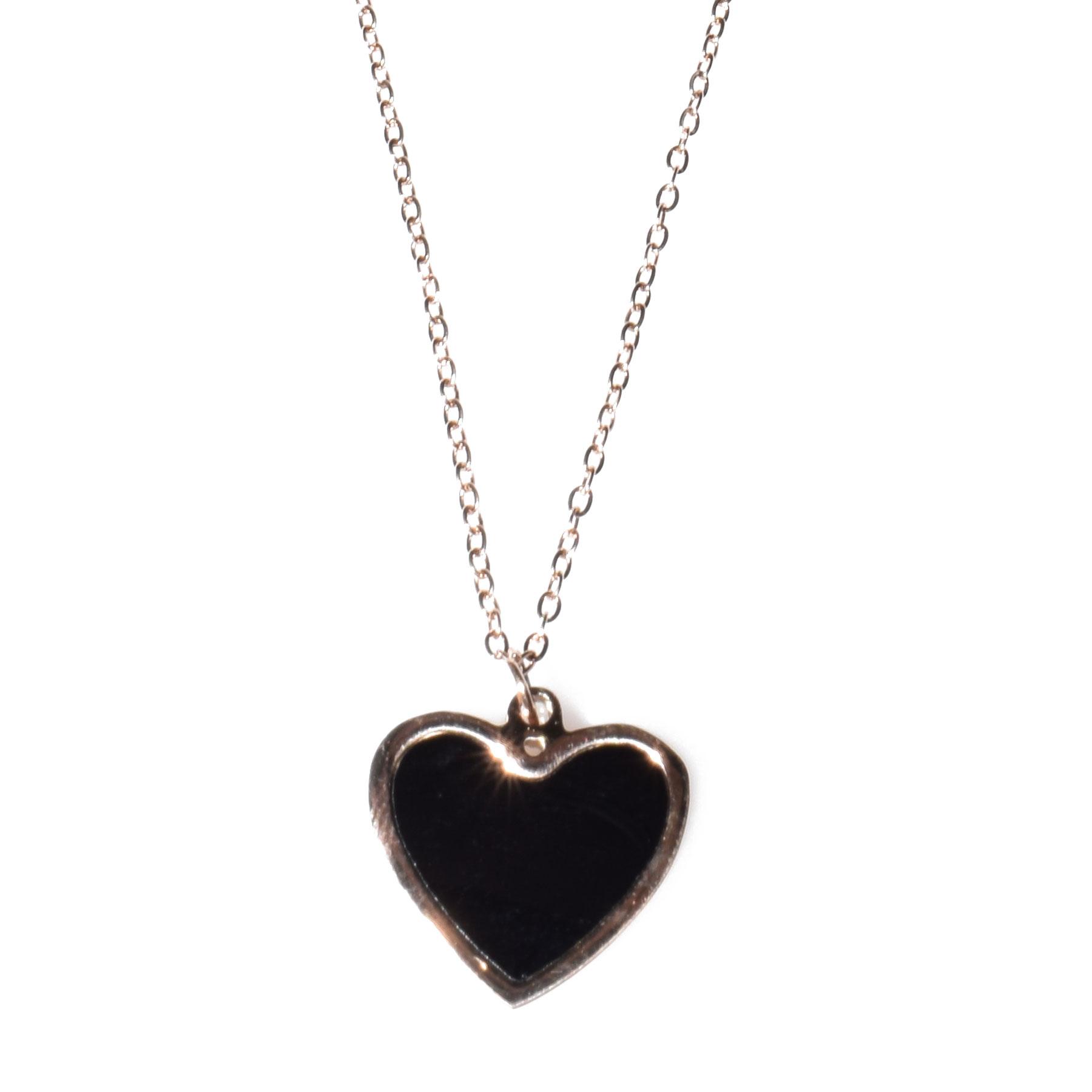 Κολιέ ατσάλινο (stainless steel) ροζ χρυσό (καρδιά) με κρυστάλλους  BZ-NK-00110 8a2f8b609ef