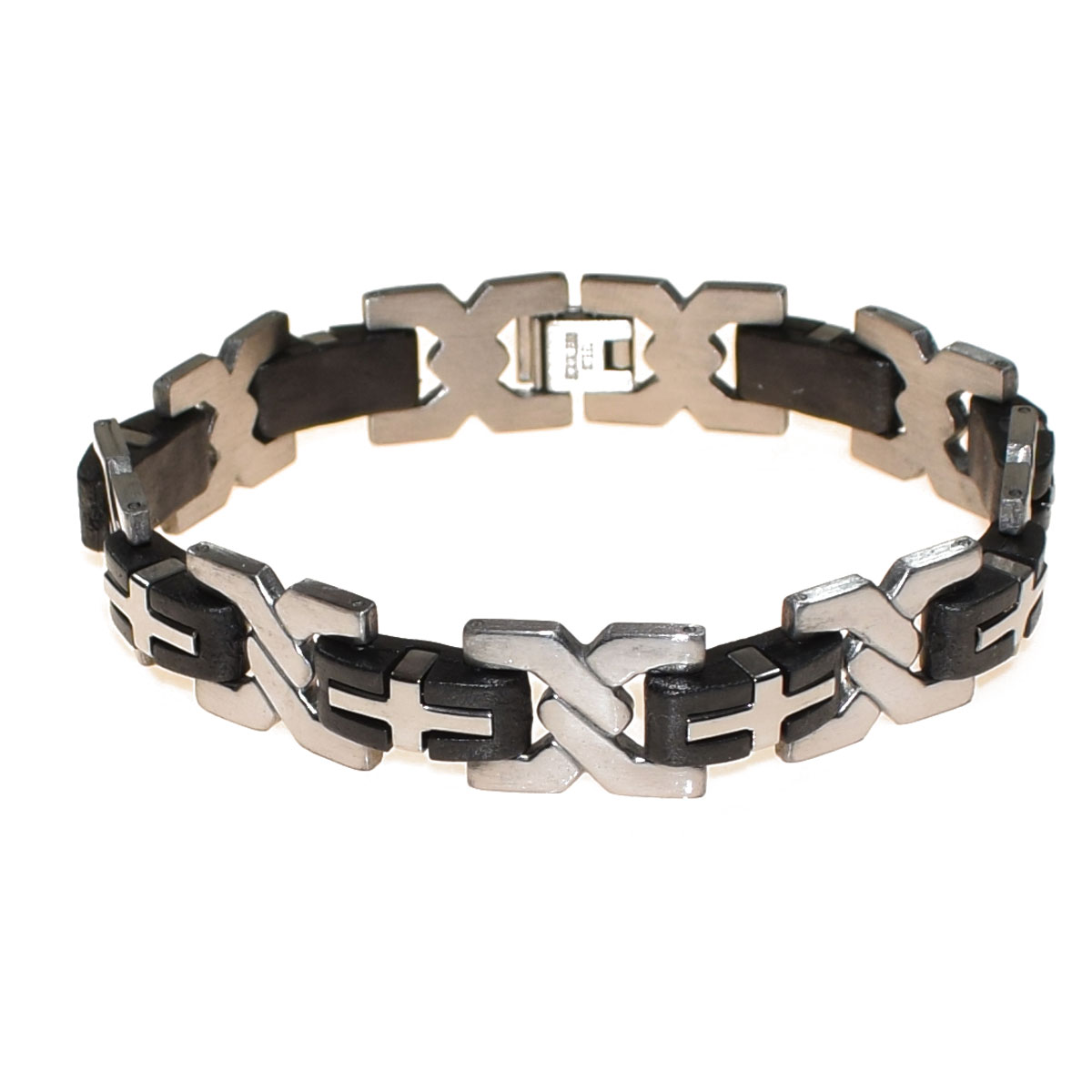Bracelet Mens Stainless Steel In Silver Color With Black Rubber Bz Br 00260