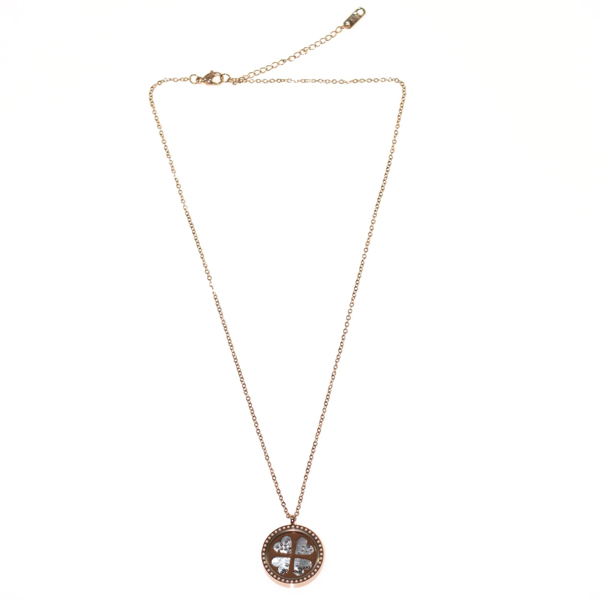 Κολιέ ατσάλινο (stainless steel) ροζ χρυσό καρδιές BZ-NK-00185 2 062fc12942d