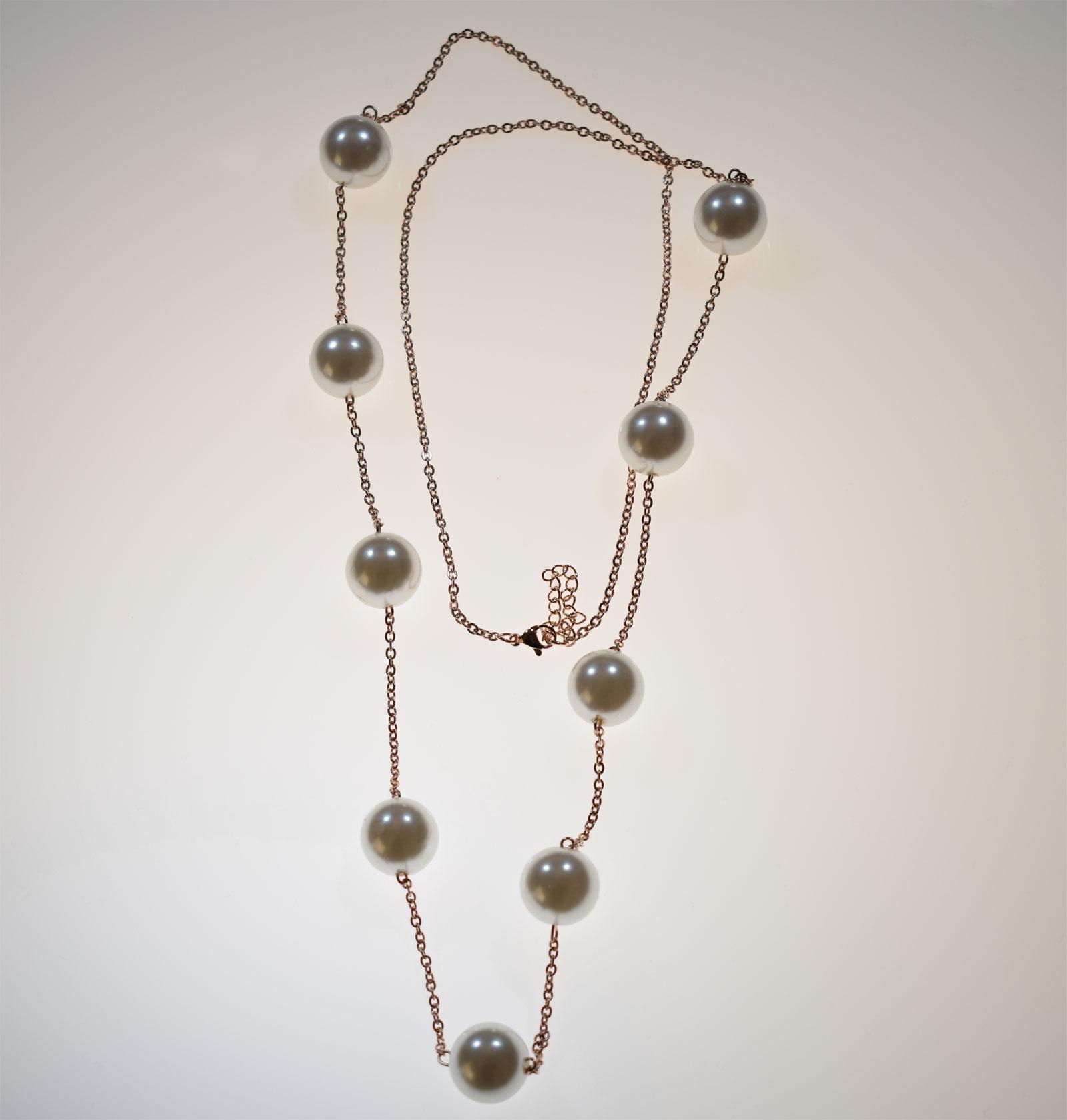 Κολιέ ατσάλινο (stainless steel) σε ροζ χρυσό χρώμα με πέρλες BZ-NK-00145 4bcfd8e7abe