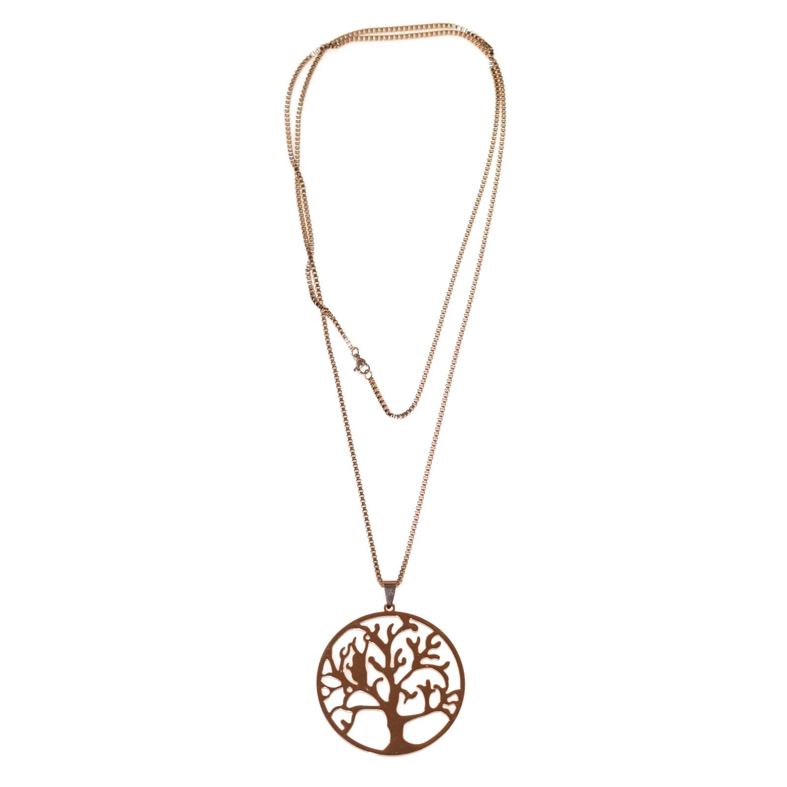 Κολιέ ατσάλινο (stainless steel) ροζ χρυσό δέντρο της ζωής BZ-NK-00182 392275499c9