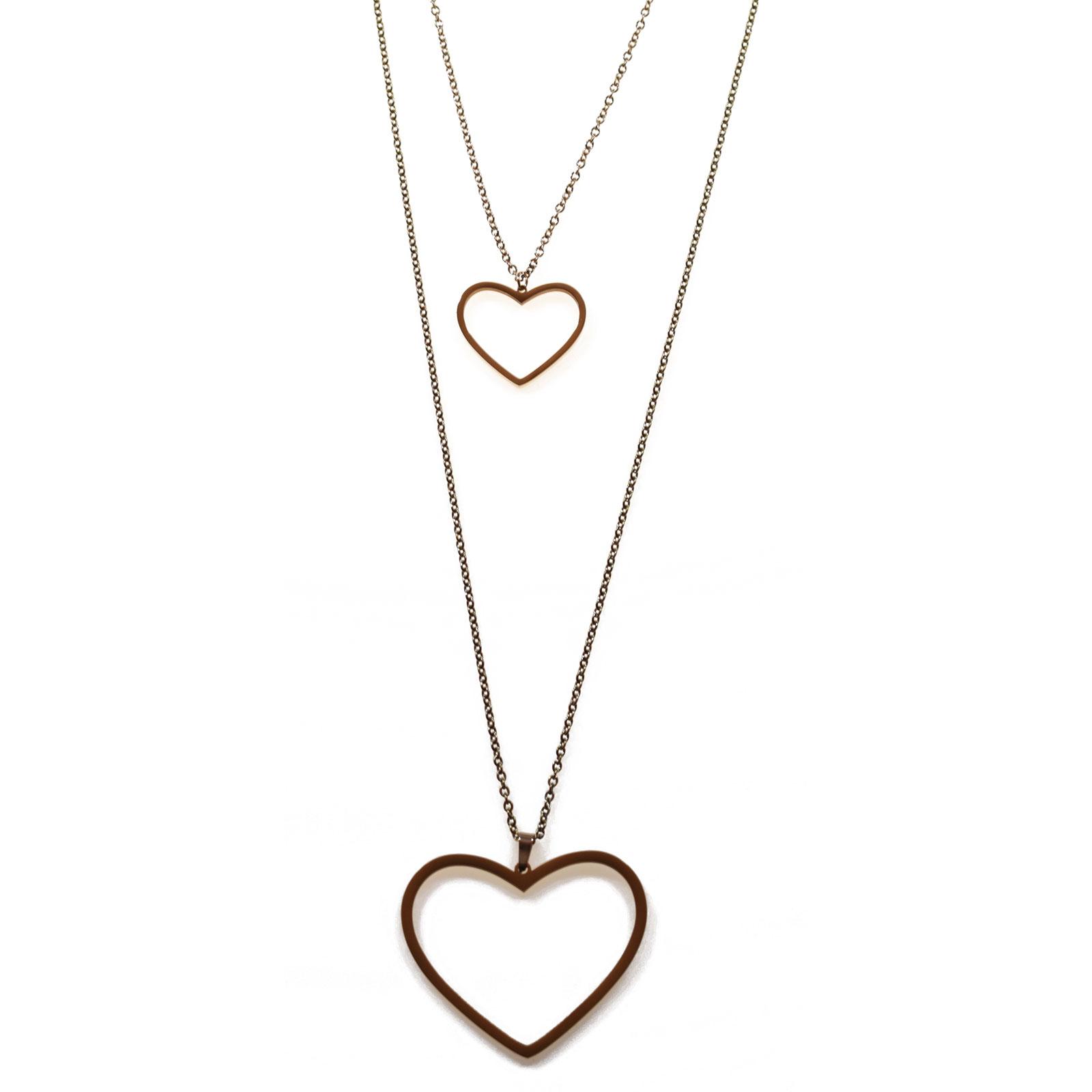 Κολιέ ατσάλινο (stainless steel) διπλή καρδιά σε ροζ χρυσό χρώμα BZ-NK-00188 fc77051fb68