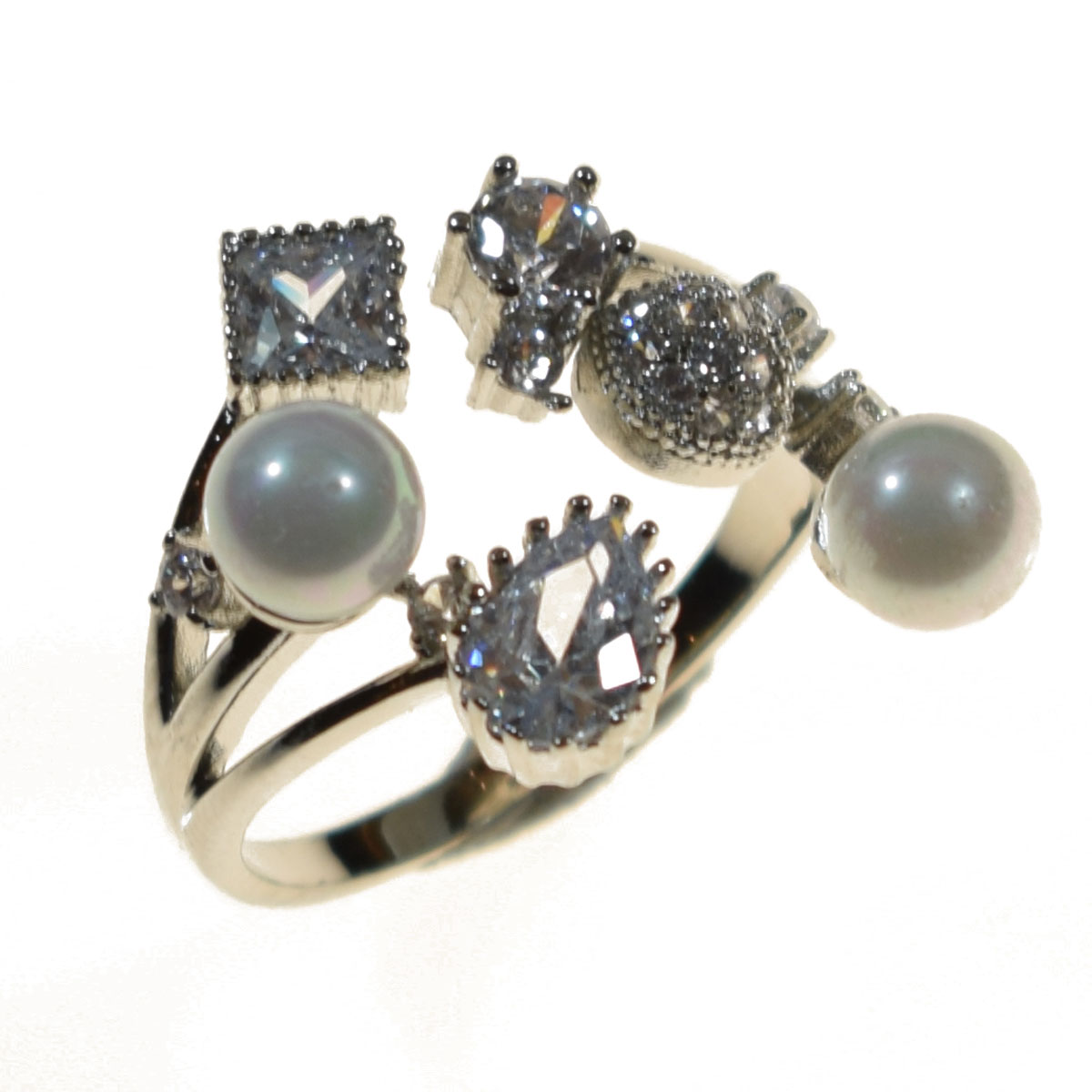 ring faux bijoux silver with pearls and crystals bz rg 00201