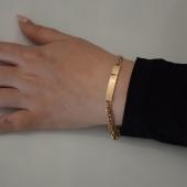 Βραχιόλι ατσάλινο (stainless steel) ταυτότητα σε ροζ χρυσό χρώμα BZ-BR-00447 Εικόνα 2