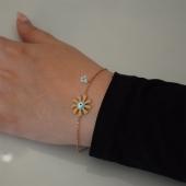 Βραχιόλι ατσάλινο (stainless steel) λουλούδι ματάκι με λευκούς κρυστάλλους και σμάλτο σε ροζ χρυσό χρώμα BZ-BR-00454 Εικόνα 2