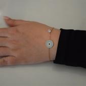 Βραχιόλι ατσάλινο (stainless steel) ματάκι με λευκούς κρυστάλλους και σμάλτο σε ροζ χρυσό χρώμα BZ-BR-00455 Εικόνα 2