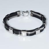 Βραχιόλι ανδρικό ατσάλινο (stainless steel) σε ασημί και μαύρο χρώμα BZ-BR-00459 Εικόνα 2
