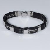 Βραχιόλι ανδρικό ατσάλινο (stainless steel) σε ασημί και μαύρο χρώμα BZ-BR-00460 Εικόνα 2