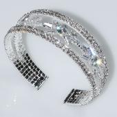 Βραχιόλι φο μπιζού ορείχαλκος bangle αστέρια με λευκούς κρυστάλλους σε ασημί χρώμα BZ-BR-00464 Εικόνα 3