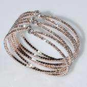 Βραχιόλι φο μπιζού ορείχαλκος bangle με λευκούς κρυστάλλους σε ροζ χρυσό χρώμα BZ-BR-00467 Εικόνα 3