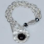 Βραχιόλι φο μπιζού ορείχαλκος αλυσίδα με κρυστάλλους και πέρλες σε λευκό/ασημί χρώμα BZ-BR-00468 Εικόνα 2