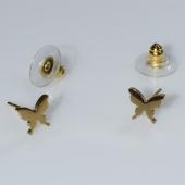 Σκουλαρίκια ατσάλινα (stainless steel) πεταλούδες σε χρυσό χρώμα BZ-ER-00579 Εικόνα 2