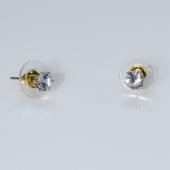 Σκουλαρίκια ατσάλινα (stainless steel) με μικρό λευκό κρύσταλλο σε χρυσό χρώμα BZ-ER-00581 Εικόνα 2