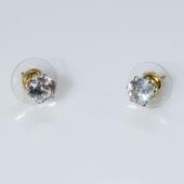 Σκουλαρίκια ατσάλινα (stainless steel) με λευκό κρύσταλλο σε χρυσό χρώμα BZ-ER-00582 Εικόνα 2