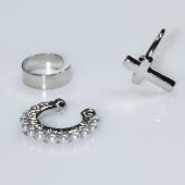 Σκουλαρίκια (σετ τρία μαζί) φο μπιζού ορείχαλκος ear cuffs χωρίς τρύπα που γαντζώνουν στο αυτί σταυρός με πέρλες σε ασημί χρώμα BZ-ER-00592 Εικόνα 2