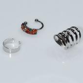 Σκουλαρίκια (σετ τρία μαζί) φο μπιζού ορείχαλκος ear cuffs χωρίς τρύπα που γαντζώνουν στο αυτί με πολύχρωμους κρυστάλλους σε ασημί χρώμα BZ-ER-00593 Εικόνα 2