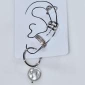 Σκουλαρίκια (σετ τέσσερα μαζί) φο μπιζού ορείχαλκος ear cuffs χωρίς τρύπα που γαντζώνουν στο αυτί με πέρλες και λευκούς κρυστάλλους σε ασημί χρώμα BZ-ER-00594 Εικόνα 3