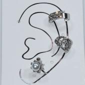 Σκουλαρίκια (σετ τρία μαζί) φο μπιζού ορείχαλκος ear cuffs χωρίς τρύπα που γαντζώνουν στο αυτί με πέρλες και λευκούς κρυστάλλους σε ασημί χρώμα BZ-ER-00595 Εικόνα 3