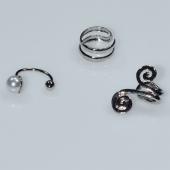 Σκουλαρίκια (σετ τρία μαζί) φο μπιζού ορείχαλκος ear cuffs χωρίς τρύπα που γαντζώνουν στο αυτί με πέρλες και λευκούς κρυστάλλους σε ασημί χρώμα BZ-ER-00596 Εικόνα 2