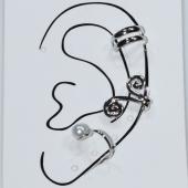 Σκουλαρίκια (σετ τρία μαζί) φο μπιζού ορείχαλκος ear cuffs χωρίς τρύπα που γαντζώνουν στο αυτί με πέρλες και λευκούς κρυστάλλους σε ασημί χρώμα BZ-ER-00596 Εικόνα 3