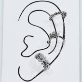 Σκουλαρίκια (σετ τρία μαζί) φο μπιζού ορείχαλκος ear cuffs χωρίς τρύπα που γαντζώνουν στο αυτί λουλούδι με λευκούς κρυστάλλους σε ασημί χρώμα BZ-ER-00597 Εικόνα 3