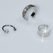 Σκουλαρίκια (σετ τρία μαζί) φο μπιζού ορείχαλκος ear cuffs χωρίς τρύπα που γαντζώνουν στο αυτί με πέρλες και λευκούς κρυστάλλους σε ασημί χρώμα BZ-ER-00599 Εικόνα 2
