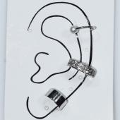 Σκουλαρίκια (σετ τρία μαζί) φο μπιζού ορείχαλκος ear cuffs χωρίς τρύπα που γαντζώνουν στο αυτί με πέρλες και λευκούς κρυστάλλους σε ασημί χρώμα BZ-ER-00599 Εικόνα 3