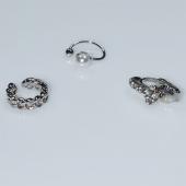 Σκουλαρίκια (σετ τρία μαζί) φο μπιζού ορείχαλκος ear cuffs χωρίς τρύπα που γαντζώνουν στο αυτί με πέρλες και λευκούς κρυστάλλους σε ασημί χρώμα BZ-ER-00600 Εικόνα 2