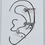 Σκουλαρίκια (σετ τρία μαζί) φο μπιζού ορείχαλκος ear cuffs χωρίς τρύπα που γαντζώνουν στο αυτί με πέρλες και λευκούς κρυστάλλους σε ασημί χρώμα BZ-ER-00600 Εικόνα 3