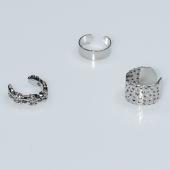 Σκουλαρίκια (σετ τρία μαζί) φο μπιζού ορείχαλκος ear cuffs χωρίς τρύπα που γαντζώνουν στο αυτί σε ασημί χρώμα BZ-ER-00601 Εικόνα 2
