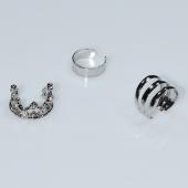 Σκουλαρίκια (σετ τρία μαζί) φο μπιζού ορείχαλκος ear cuffs χωρίς τρύπα που γαντζώνουν στο αυτί κορώνα σε ασημί χρώμα BZ-ER-00602 Εικόνα 2