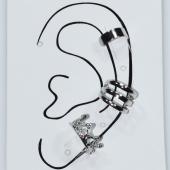 Σκουλαρίκια (σετ τρία μαζί) φο μπιζού ορείχαλκος ear cuffs χωρίς τρύπα που γαντζώνουν στο αυτί κορώνα σε ασημί χρώμα BZ-ER-00602 Εικόνα 3