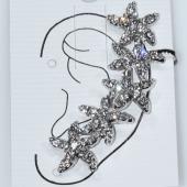 Σκουλαρίκι που αγκαλιάζει το αυτί ear climber φο μπιζού ορείχαλκος αστέρια με λευκούς κρυστάλλους σε ασημί χρώμα BZ-ER-00604 Εικόνα 2