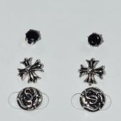 Σκουλαρίκια (σετ τρία μαζί) φο μπιζού ορείχαλκος καρφωτά σταυρός με μαύρους κρυστάλλους σε ασημί/γκρι χρώμα BZ-ER-00617 Εικόνα 2