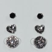 Σκουλαρίκια (σετ τρία μαζί) φο μπιζού ορείχαλκος καρφωτά σταυρός καρδιά με μαύρους κρυστάλλους σε ασημί/γκρι χρώμα BZ-ER-00618 Εικόνα 2
