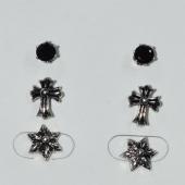 Σκουλαρίκια (σετ τρία μαζί) φο μπιζού ορείχαλκος καρφωτά σταυρός αστέρι με μαύρους κρυστάλλους σε ασημί/γκρι χρώμα BZ-ER-00619 Εικόνα 2