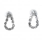 Κολιέ φο μπιζού statement σετ με σκουλαρίκια, βραχιόλι, δαχτυλίδι σε ασημί χρώμα με λευκούς κρυστάλλους BZ-NK-00383 Εικόνα Σκουλαρίκια