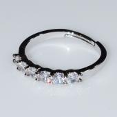 Δαχτυλίδι φο μπιζού βεράκι σειρέ με λευκούς κρυστάλλους σε ασημί χρώμα BZ-RG-00411 Εικόνα 2