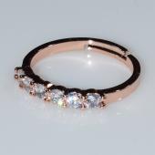 Δαχτυλίδι φο μπιζού βεράκι σειρέ με λευκούς κρυστάλλους σε ροζ χρυσό χρώμα BZ-RG-00412 Εικόνα 2