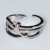 Δαχτυλίδι φο μπιζού με λευκούς κρυστάλλους σε ασημί χρώμα BZ-RG-00415 Εικόνα 2