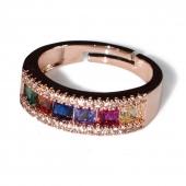 Δαχτυλίδι φο μπιζού βεράκι σειρέ με πολύχρωμους κρυστάλλους σε ροζ χρυσό χρώμα BZ-RG-00419 Εικόνα 2